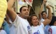 Márcio Ayer Andrade, novo presidente do sindicato dos comerciantes, comemora a vitória