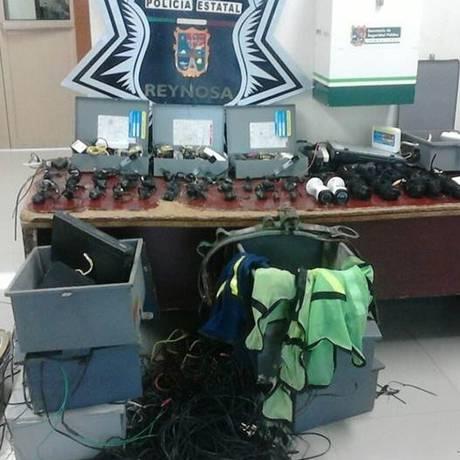 """As câmeras apreendidas pela polícia mexicana em Reynosa: """"rede de vigilância"""" de grupos criminosos Foto: El Universal/GDA"""