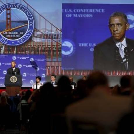 Presidente dos Estados Unidos, Barack Obama, discursa durante conferência com prefeitos em São Francisco Foto: REUTERS