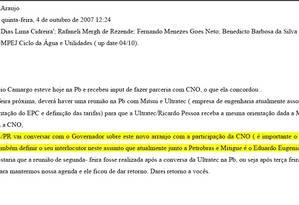 E-mail interno da Odecrecht que cita Sérgio Cabral e o presidente da Firjan Foto: Reprodução / PF