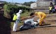Profissionais de saúde recolhem corpo de vítima do ebola em uma favela de Freetown em foto de outubro do ano passado: novos casos frustram esperanças de que a capital de Serra Leoa estaria finalmente livre da epidemia