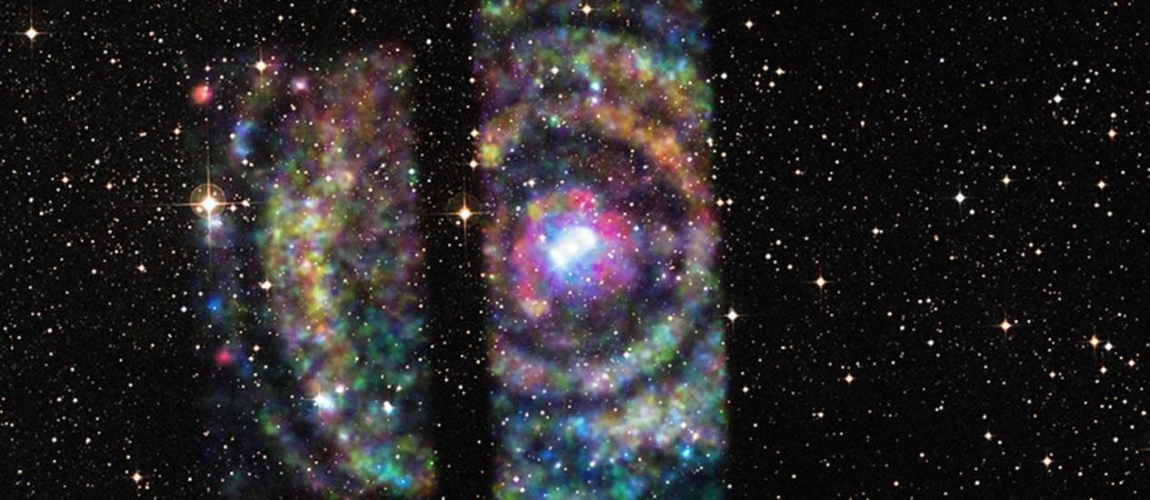 """Imagem composta em raio-X e luz visível do sistema Circinus X-1: """"anéis"""" gerados pelos """"ecos"""" dos raios-X emitidos pela estrela de nêutrons forneceram rara oportunidade de determinar com precisão sua distância da Terra Foto: Nasa/Chandra/Universidade de Wisconsin-Madison/S.Heinz/DSS"""