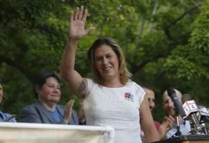 Kristin Beck, transgênera e ex-oficial das operações especiais da Marinha, é candidata ao Congresso americano Foto: Reuters / Jim Urquhart