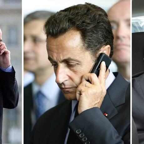 Montagem de fotos mostra Jacques Chirac, Nicolas Sarkozy e François Hollande, supostamente alvos de espionagem da NSA, fazendo ligações telefônicas, na França Foto: STAFF / Reuters