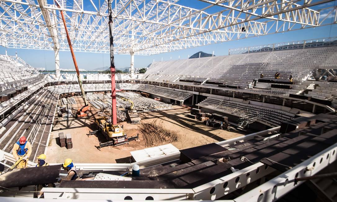 O estádio de esportes aquáticos, sede da natação. É a maior instalação da Barra, para 18 mil pessoas Renato Sette Camara / /Prefeitura do Rio