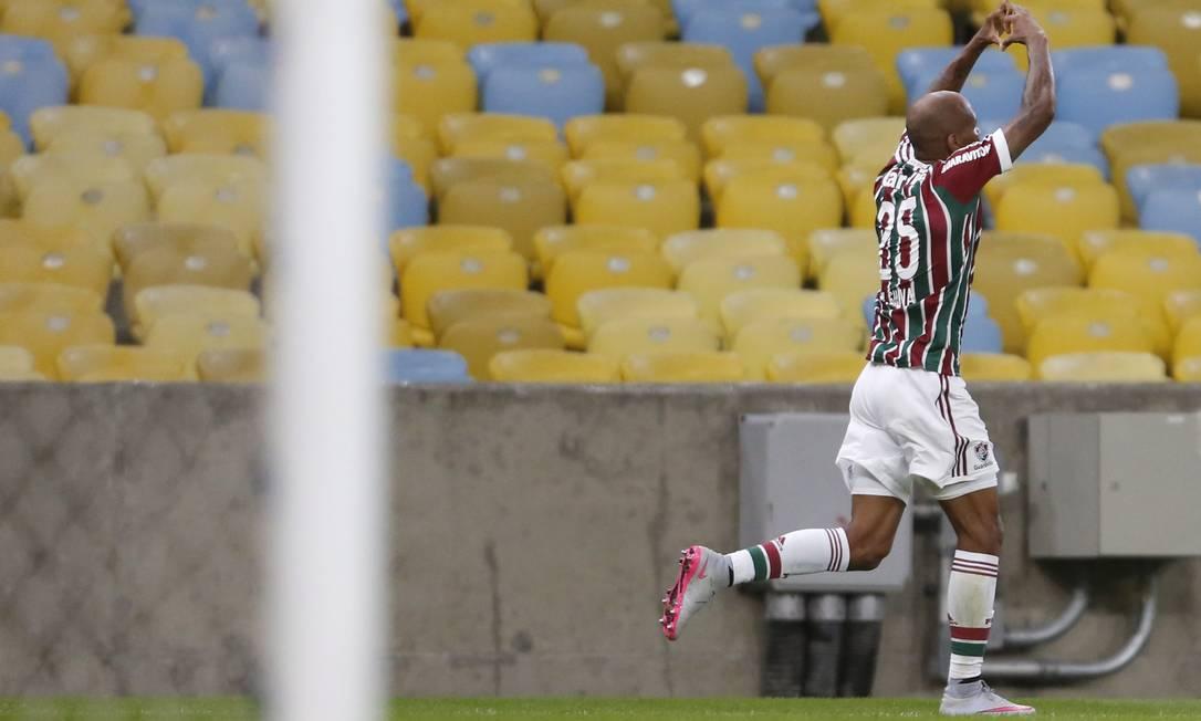 Wellington Silva comemora o gol no Maracanã Guito Moreto / Agência O Globo