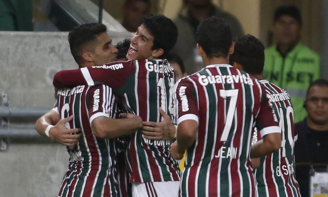A festa do Fluminense no segundo gol, marcado por Vinicius Guito Moreto / Agência O Globo