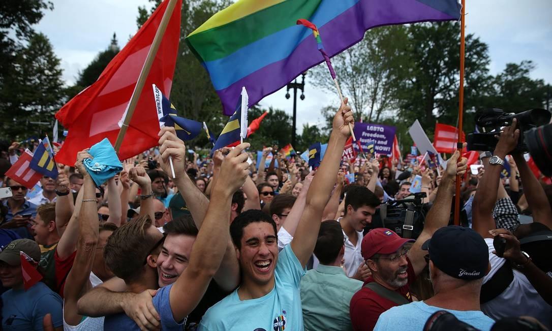 Após a votação desta sexta, o matrimônio entre gays se torna legal também nos estados de Alabama, Arkansas, Georgia, Kentucky, Louisiana, Michigan, Mississippi, Missouri, Nebraska, Dakota do Norte, Ohio, Dakota do Sul, Tennessee e Texas Foto: ALEX WONG / AFP