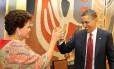 A presidente Dilma Rousseff brindae com o presidente americano Barack Obama