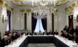A presidente Dilma Rousseff em reunião com empresários brasileiros e investidores americanos no Hotel St. Regis Hotel, em Nova York