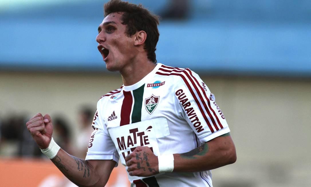 Vinícius comemora o gol de empate do Flu, marcado por Wagner Nelson Perez / Fluminense