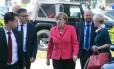 Angela Merkel, chanceler alemã, chega à celebração de 70 anos de seu partido, o democrata-cristão
