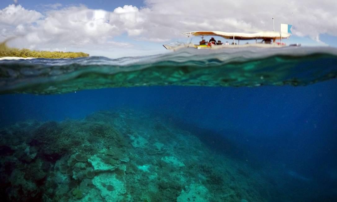 Barco passeia com turistas acima do 'Jardim de Corais' perto da ilha Lady Elliot DAVID GRAY / REUTERS