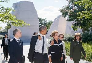 Dilma e Obama visitam monumento em homenagem a Martin Luther King em Washington Foto: Divulgação