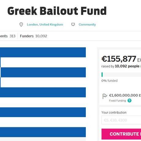 Site de financiamento coletivo para a Grécia Foto: Reprodução