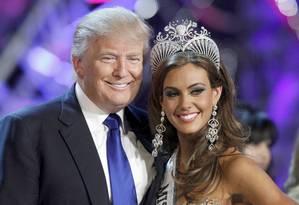 Donald Trump no Miss EUA de 2013: empresário sofreu baques econômicos por conta de boca grande Foto: STEVE MARCUS / REUTERS