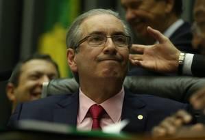 Presidente da Câmara Eduardo Cunha durante votação da redução da maioridade penal Foto: ANDRE COELHO / Agência O Globo