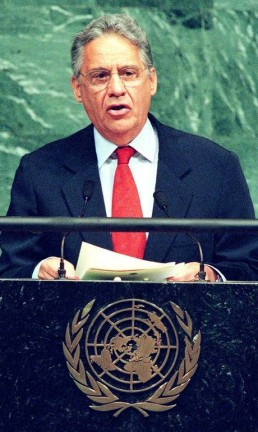 Fernando Henrique Cardoso a reunião da Organização das Nações Unidas sobre o combate ao tráfico de drogas. Foto: Jon Levy / AFP