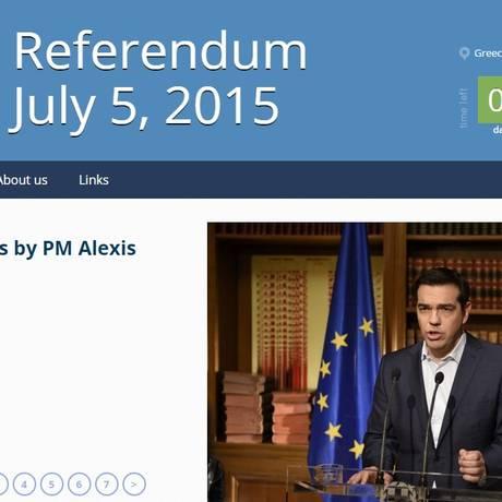 Portal do governo grego sobre referendo Foto: Reprodução/Internet