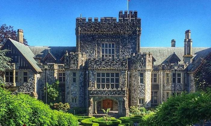 Hatley Castle, em British Columbia, no Canadá. Foto: @leozaorj / Instagram
