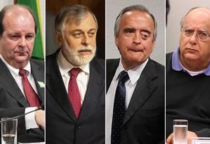 Os ex-diretores da Petrobras Jorge Zelada, Paulo Roberto Costa, Nestor Cerveró e Renato Duque (da esq. p/ a dir.) Foto: Montagem com fotos de arquivo