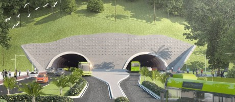 Com duas galerias e ciclovia, o túnel Charitas-Cafubá terá 1,3 quilômetro e vai reduzir o tempo de viagem entre 11 bairros da Região Oceânica e a estação dos catamarãs em CharitasFoto: Divulgação/ Prefeitura de Niterói