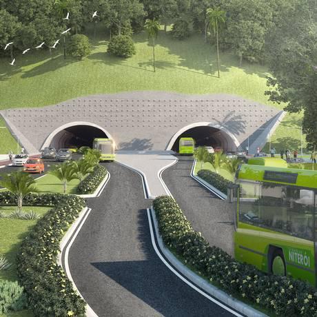 Com duas galerias e ciclovia, o túnel Charitas-Cafubá terá 1,3 quilômetro e vai reduzir o tempo de viagem entre 11 bairros da Região Oceânica e a estação dos catamarãs em Charitas Foto: Divulgação/ Prefeitura de Niterói