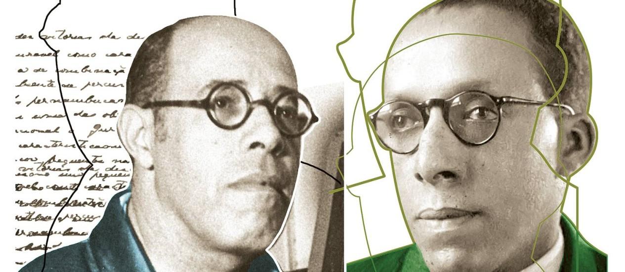 A imagem que circula de Mário Andrada (à direita), com óculos e a calvície avançada, lembra algumas fotos de Mário de Andrade (esquerda) Foto: Arte de André Mello