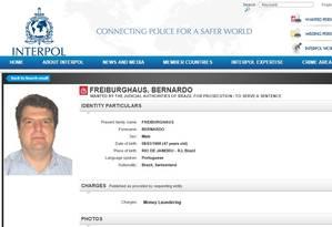 O economista Bernardo Freiburghaus entra na lista de procurados da Interpol Foto: Reprodução