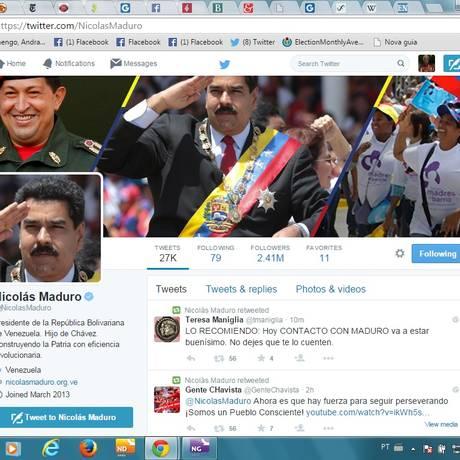 Imagem e semelhança. O perfil @NicolasMaduro apresenta a foto do atual presidente e do antecessor, Hugo Chávez, batendo continência Foto: Reprodução