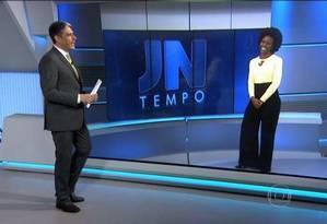 Maria Júlia Coutinho, ou Maju, apresenta a previsão do tempo no 'Jornal Nacional' Foto: Reprodução