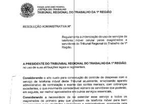 Resolucao administrativa que regulamenta a indenização no TRT-RJ Foto: Reprodução