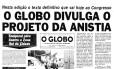 Capa do jornal o Globo sobre a anistia