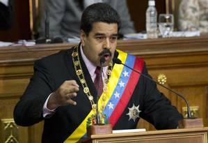 O presidente da Venezuela, Nicolás Maduro, discursa na Assembleia Nacional em Caracas Foto: Ariana Cubillos / AP