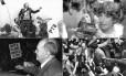 O líder comunista Leonel Brizola, o ex-guerrilheiro Fernando Gabeira, o comunista Luis Carlos Prestes e o ex-governador de Pernambuco Miguel Arraes