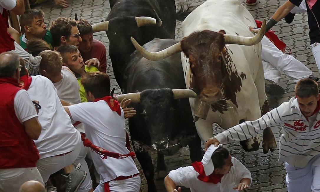 Muitas cidades espanholas realizam festivais envolvendo touros durante o verão europeu Daniel Ochoa de Olza / AP