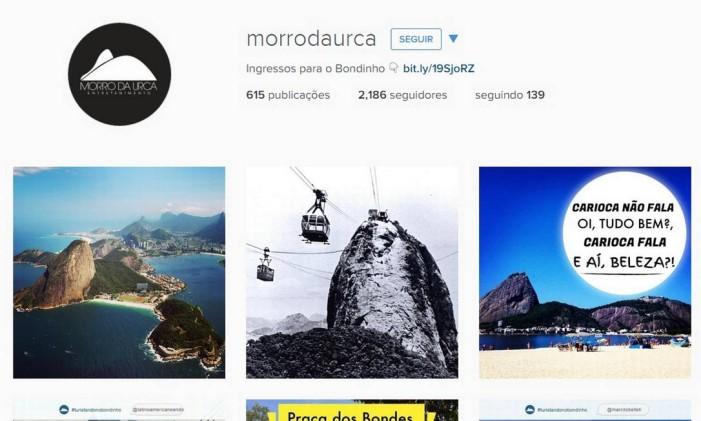 Perfil do Instagram do Morro da Urca Foto: Reprodução