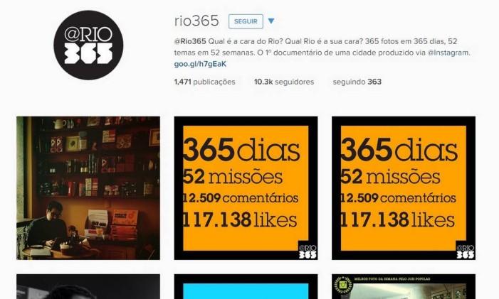 Perfil do Instagram do Rio 365 Foto: Reprodução