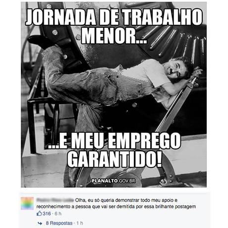 Imagem postada pelo Planalto no Facebook, que foi alvo de críticas de internautas Foto: Reprodução/Facebook
