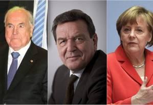 Kohl, Schroeder e Merkel foram alvos da NSA Foto: Montagem/Reuters