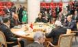 A presidente Dilma Rousseff durante reunião com a cúpula dos Brics, na Rússia