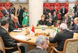 A presidente Dilma Rousseff durante reunião com a cúpula dos Brics, na Rússia Foto: Roberto Stuckert Filho/PR