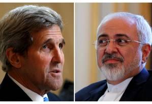 Kerry e Zarif: clima quente nos bastidores Foto: CARLOS BARRIA / REUTERS