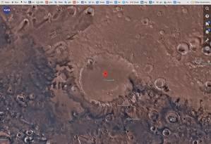 Aspecto da superfície de marte na região da cratera Schiaparelli Foto: Reprodução / Mars Trek