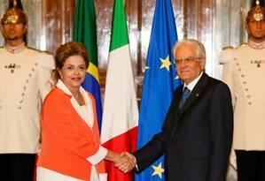 Presidente Dilma Rousseff em encontro com o presidente italiano, Sergio Mattarella. Foto: Foto: Divulgação / Roberto Stuckert Filho