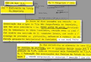 Documentos analisado pela Comissão Estadual da Verdade do Rio de Janeiro (CEV-Rio) Foto: Reprodução / APERJ