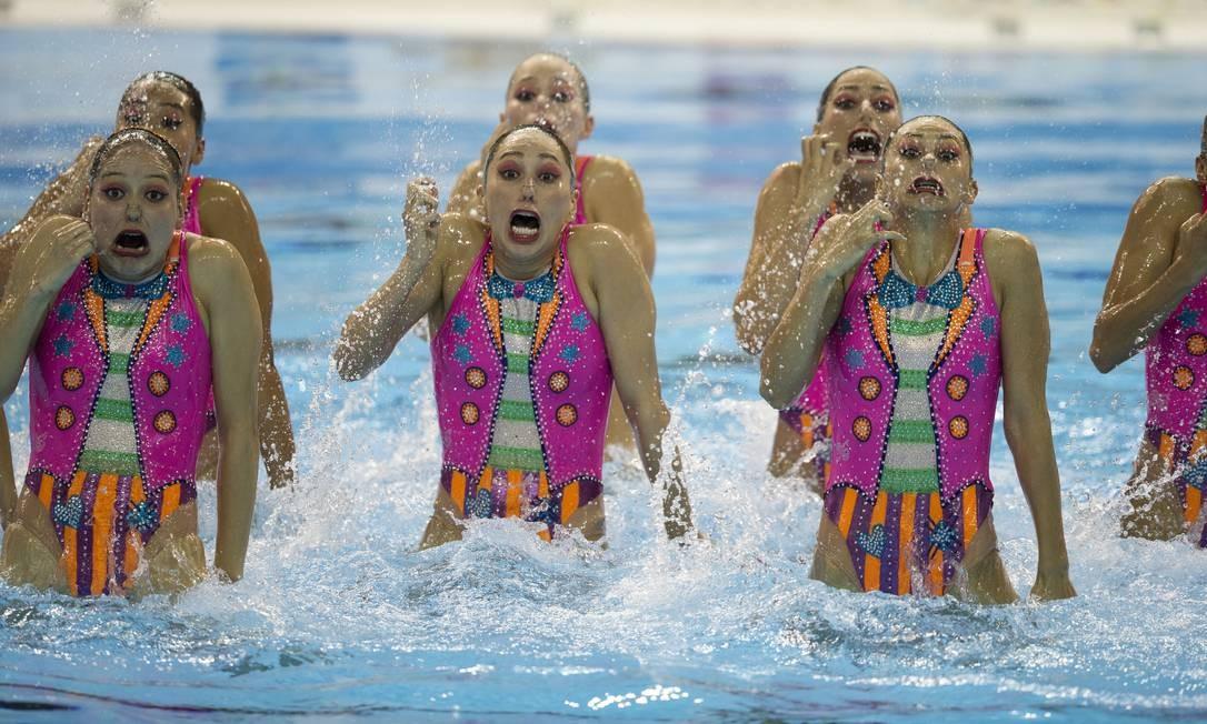 As mexicanas do nado sincronizado em sintonia até nas caretas Rebecca Blackwell / AP