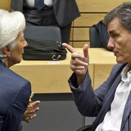 Tsakalotos e Lagarde Foto: Michel Euler / AP