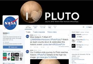 Nasa declara em sua conta no Twitter: 'Eu amo Plutão' Foto: Reprodução