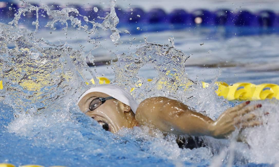 A brasileira Larissa Martins vence as preliminares da prova dos 100m nado livre Foto: Rob Schumacher / USA Today Sports